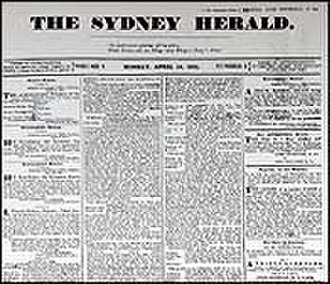 The Sydney Morning Herald - The cover of the newspaper's first edition, on 18 April 1831