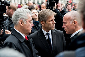 Gerald Klug - With President Fischer and Minister Oster­mayer at the Opening of the Memorial for the Victims of Nazi Military Justice, Ballhausplatz 2014