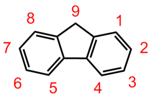 Polyfluorene - The fluorene molecule is most commonly linked at the 2 and 7 positions in polyfluorene derivatives. Also, the 9 position is typically where side chains are attached.