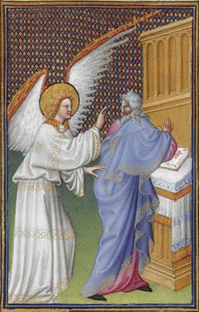 Folio 43v - The Archangel Gabriel Appears to Zachary