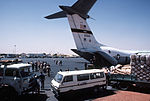 Food and supplies are unloaded from a C-141B Starlifter aircraft from the 6th Military Airlift Squadron during Ethiopian relief operations DF-ST-86-11389.jpg
