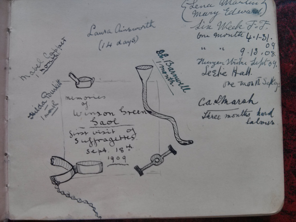 Forcible feeding illustration from WSPU prisoners scrapbook