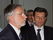 Former Australian Democrats Queensland senators Michael Macklin and John Cherry, with Andrew Bartlett in background, in 2008.jpg