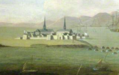 Fortress Louisbourg, Siege of Louisbourg 1745 (inset) by Peter Monamy.png