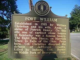 William Christian (Virginia) - Fort William dedication plaque honoring William Christian.