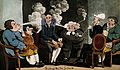 Four men sit round the tax man and blow smoke in his face. C Wellcome V0019073.jpg