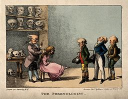 Franz Joseph Gall examining the head of a pretty young girl, Wellcome V0011119