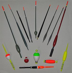 Fishing float - Selection of UK (top) and US (bottom) fishing floats