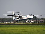 G-ECOA Flybe De Havilland Canada DHC-8-402Q Dash 8, landing on Schiphol (EHAM-AMS) runway 18R pic3.JPG