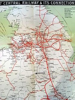 Great Central Railway Map Great Central Railway   Wikipedia
