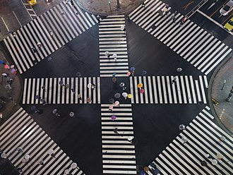 Pedestrian crossing - An aerial view of a pedestrian scramble