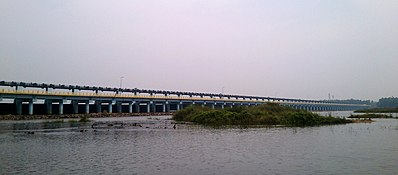 A panoramic view of Chamravattom Regulator-cum-Bridge