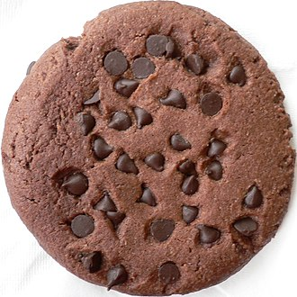 Chocolate chip cookie - A chocolate chip cookie prepared with chocolate dough