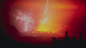 Lightning strikes during the eruption of the G...