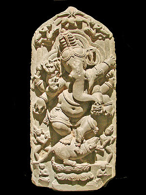 North Bengal - Dancing Ganesha sculpture from North Bengal, 11th century CE, Asian Art Museum of Berlin (Dahlem).
