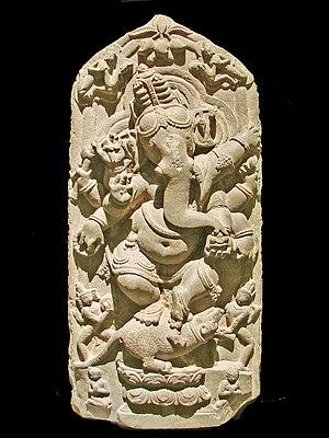 Ganesha - Dancing Ganesha sculpture from North Bengal, 11th century CE, Asian Art Museum of Berlin (Dahlem).