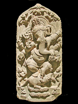 Ganesha - Dancing Ganesha sculpture from North Bengal, 11th century CE, Asian Art Museum of Berlin (Dahlem).
