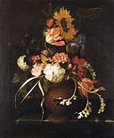 Geerti Pieters - vase of flowers in urn on stone slab.jpg