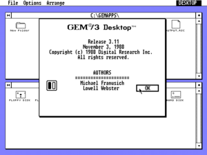 Graphics Environment Manager - GEM 3.11 displaying its Desktop Info dialog