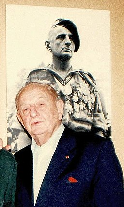 General Marcel Bigeard, 80, October 1996, before photo of him 40 years ago