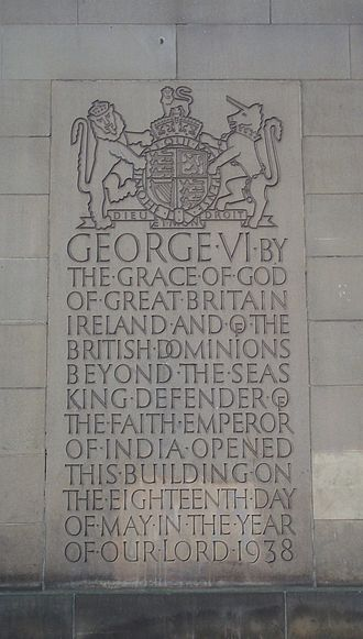 King-Emperor - A plaque on the Manchester Central Library records George VI's titles before giving up being Emperor of India.