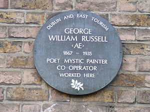 George William Russell - Plaque on 84 Merrion Square, where Æ once worked (now 'Plunkett House')