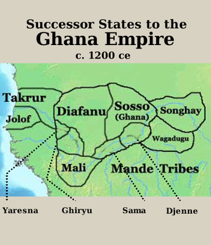 Sosso Empire - Image: Ghana successor map 1200