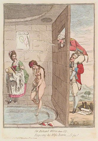 "Criminal conversation - 1782 cartoon by James Gillray, depicting Sir Richard Worsley helping George Bisset view his wife, Seymour Fleming, naked in a bath-house. The caption reads: ""Sir Richard Worse-than-Sly / Exposing his Wifes Bottom; – O fye!"""