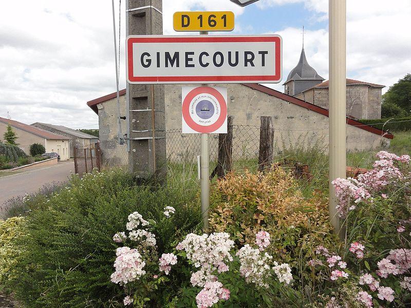 Gimécourt (Meuse) city limit sign