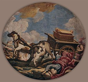 Uzzah - Baroque painting of the death of Uzzah by Giulio Quaglio the Younger in a medaillon in Ljubljana Cathedral (1704)
