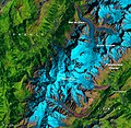 Glaciers around Mont Blanc, Western Alps, August 18, 1985 (labelled).jpg