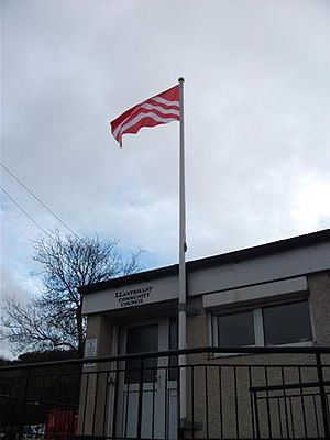 Flag of Glamorgan - The flag of Glamorgan flies over the offices of Llantrisant Community Council in the county.