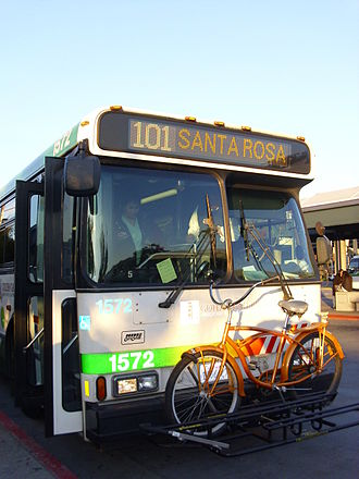 Golden Gate Transit - A Golden Gate Transit bus on Route 101 at the San Rafael Transit Center.