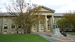 Goldwin Smith Hall and Andrew Dickson White by Karl Bitter at Cornell University.jpg
