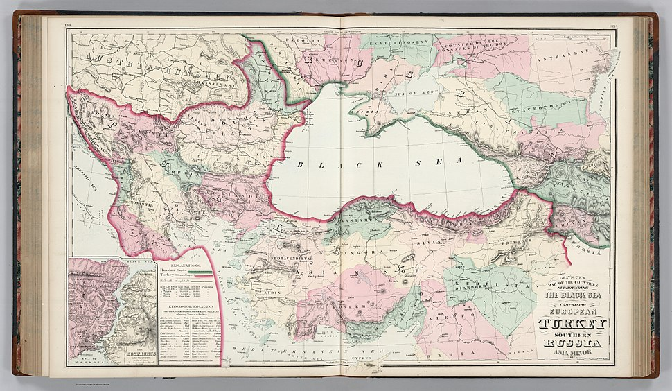 Gray's New Map of the Countries Surrounding the Black Sea Comprising European Turkey, Southern Russia, Asia Minor, Etc. (inset) The Bosphorus and Vicinity. Copyright, 1877, by O.W. Gray & Son