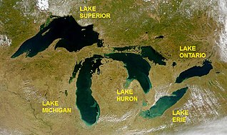 System of interconnected, large lakes in North America