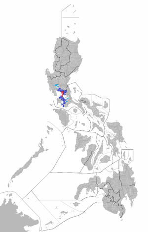 Greater Manila Area - Map of the Philippines showing the Greater Manila Area. Maroon is Manila, and red is Metro Manila aside from Manila. Blue is the built up area of cities and municipalities outside Metro Manila that are contiguous with each other and Metro Manila, while light blue is the built up area outside the contiguous area of Metro Manila and the built up area surrounding it.