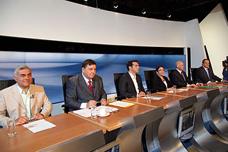 Syriza - Six party leaders' televised debate ahead of the 2009 Greek legislative elections. Alexis Tsipras, the leader of Syriza, is in the centre.