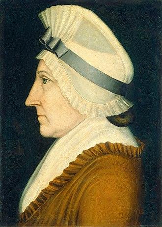 "Mob cap - Simple American bonnet or ""mob cap"", in a portrait by Benjamin Greenleaf, 1805"