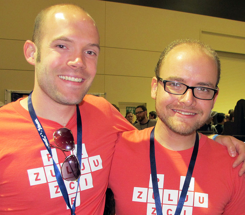 File:Greg Wohlwend and Asher Vollmer (Puzzlejuice) at the 2012 PAX 10.JPG