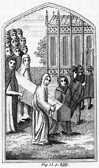 Greyfriars, Leicester - A funeral procession led by friars of Greyfriars. This 18th-century engraving may be specific to Leicester, raising the possibility that the church in the background is the 13th-century Greyfriars Church.