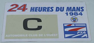 Group C - A sticker on a race car from the 1984 24 Hours of Le Mans, denoting the car is part of the Group C category.