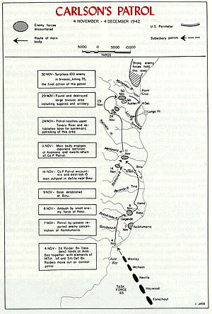 Carlson's patrol - Map of Carlson's patrol, from Aola to the Lunga perimeter