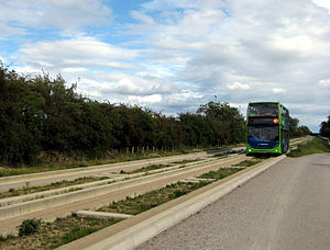 Cambridgeshire Guided Busway - Stagecoach Route B bus travelling from Cambridge on the first full day of service on the busway, 7 August 2011.
