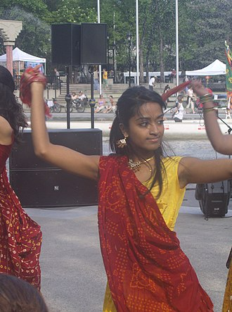 Indo-Canadians - An Indo-Canadian girl performing a Gujarati folk dance in Downtown Calgary.