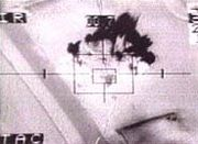 Targeting camera showing US missile or bomb strike during Desert Storm - such images became familiar to Western television audiences, and were compared to video games.