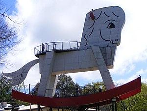 Gumeracha, South Australia - Giant rocking horse outside the toy factory