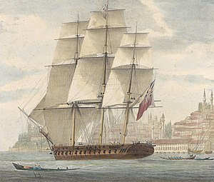 HMS Barham (1811) - Image: H.M.S. Barham quitting Constantinople With Sir Stratford Canning on bd. 12th August 1832 RMG PY0777 (cropped)