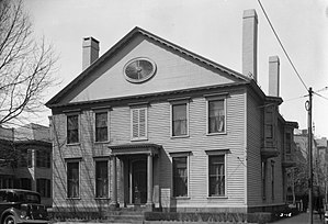 Silliman College - The Noah Webster House, on the corner of Grove St and Temple St, before its removal