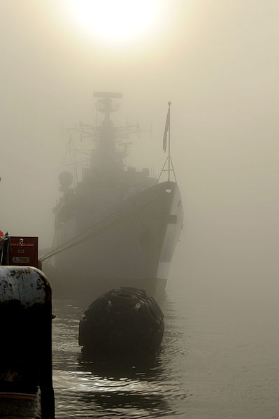 File:HMS Cornwall Shrouded in Mist MOD 45151060.jpg